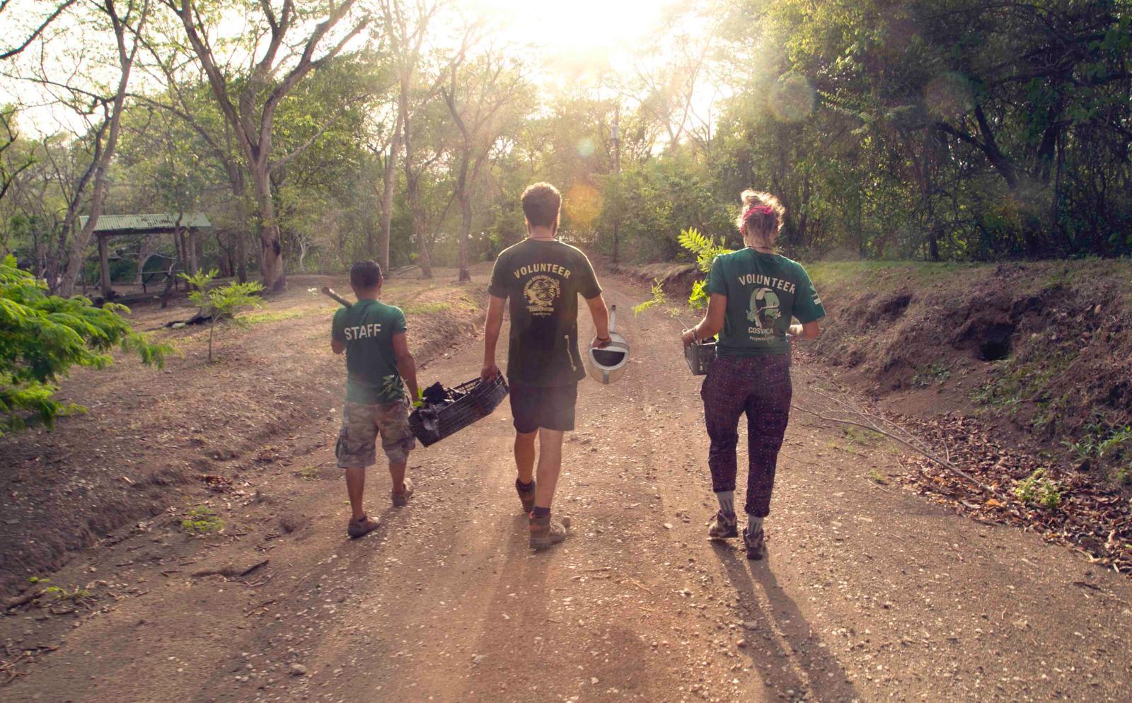 Voluntarios de conservación trabajando en equipo.